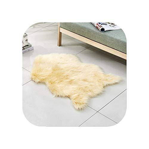 Star Harbor Shapers Flauschige Teppiche Wohnzimmer  Künstliche Lange Wollteppiche Winter Warm Home Teppich Wohnzimmer Schlafzimmer Fußmatten Bequem und schön Kissen-Hellgelb-60cmx90cm