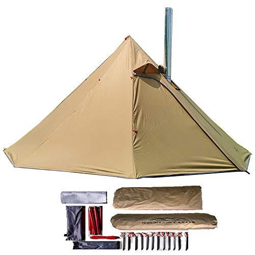 longeek 1-2PersonTent Teepee Tiendas para mochileros al aire libre Camping Senderismo Refugio climatizado Smokey HUT Chimenea caliente Tipi fácil de configurar
