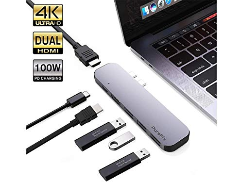 6 in 1 Premium Dual HDMI USB C Hub Adapter for MacBook Pro 2017 2018 2019 MacBook Air 2018 2019 Ultra Silm (Space Gray) () - Purefix 140892