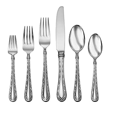 Oneida Marlena 114 Piece 18/10 Stainless Fine Flatware Set, Service for 12,Silver,