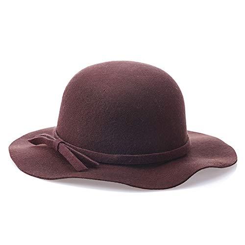 Sombrero de Fieltro 100% Lana para Mujer de los años 20 Fedora Sombrero de Cubo Visera cálida de Invierno Bowler Sombrero de otoño Ajustable