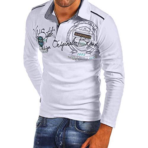 Celucke Langarm Polohemd Herren Poloshirt Besticken Mit Coole Print, Männer T-Shirt Polo Hemd Basic Shirt Freizeit Polohemden Langarmhemd Herrenhemden Sweatshirt Langarmshirt (Weiß, XL)