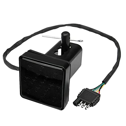 Viudecce Receptor de Enganche de Remolque con Lente Ahumada de 15 LED con FuncióN EstroboscóPica Luz Trasera de Freno para CamióN SUV Adaptador de Remolque de 2 Pulgadas Agujero