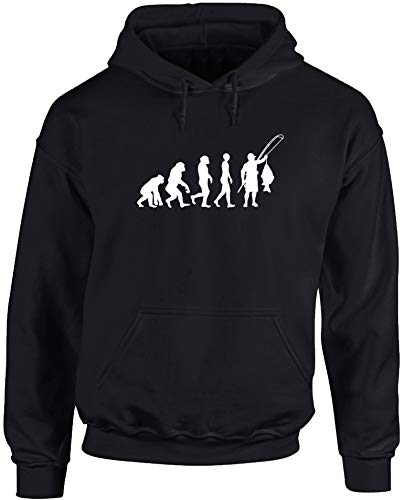 Hippowarehouse Evolution of Carp Fishing Unisex Hoodie Hooded top (Specific Size Guide in Description) Black
