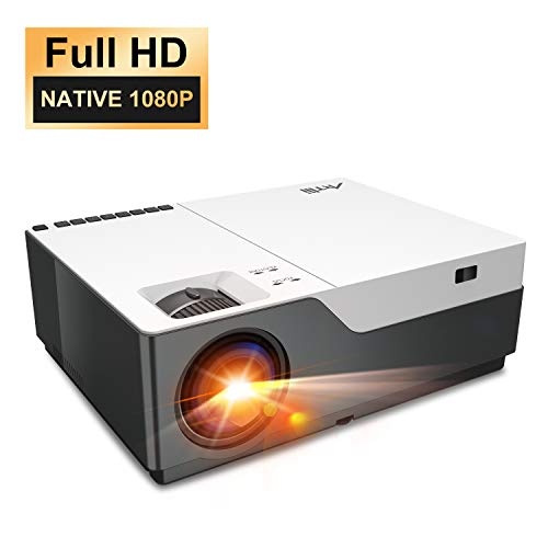 "Projector, Artlii Stone Full HD 1080P Projector Support 4K, 6500L 300"" Home Theater Projector, 5000:1 Contrast Ratio Compatible w/ TV Stick, HDMI, Laptop, PPT Presentation"