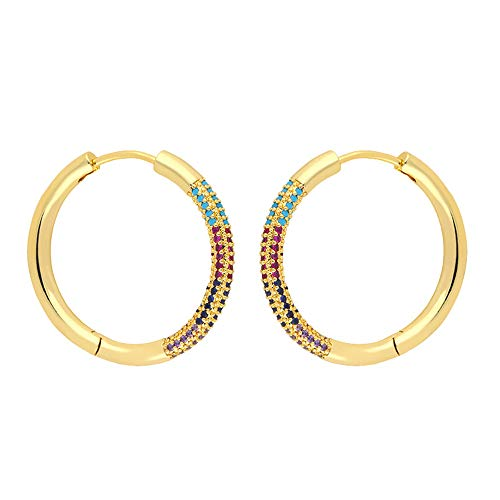 Circle Huggie Hoop Earring for Women, Gold and Silver Plated Copper Hypoallergenic Dangle Earrings with Colorful Cubic Zirconia Gift for Friends