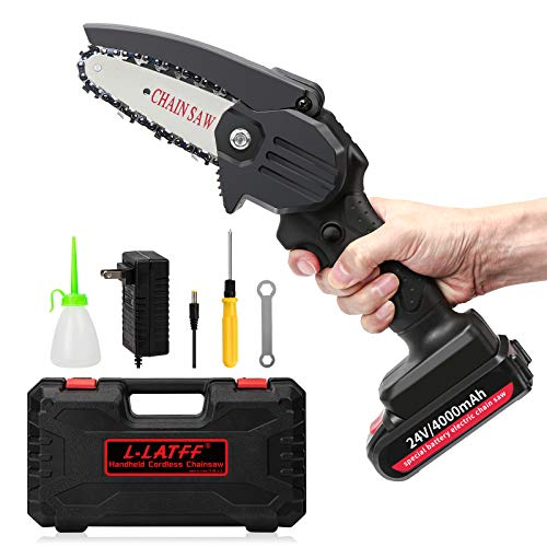 L-LATFF Mini Chainsaw 4 Inch Cordless Electric Battery Power Chain Saw with Brushless Motor 24V Portable Handhold Pruning Shears Chainsaw for Farm, Garden and Ranch