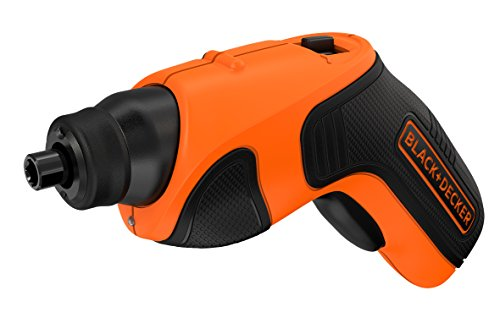 BLACK+DECKER - Tournevis Electrique CS3651LC-QW - 3.6V, 180 tr/min, 5 Nm, Lampe LED Intégrée, Blocage de l'Arbre Automatique, Orange - 2 Embouts de Vissage