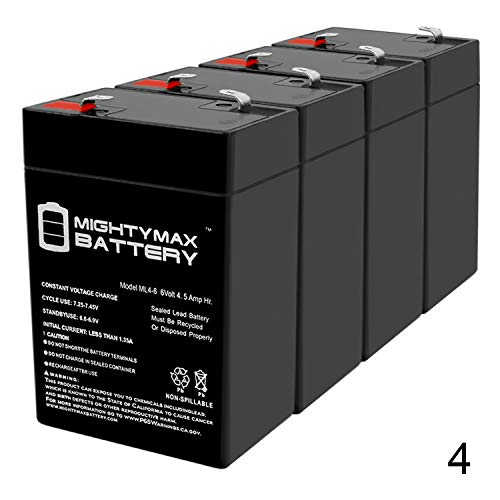 Mighty Max Battery Exit Sign Battery 6V 4.5Ah Backup - 4 Pack Brand Product