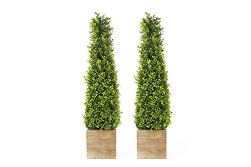 """SN Decor Boxwood Topiary Trees Artificial Indoor Outdoor Decor 34"""" Boxwood Tower in Wooden Pot Set of two Topiary Bush Plant Boxwood Green Potted Topiary – New"""