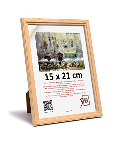 3B Cornice Jena - Natura - 15x21 cm (A5) - Cornice in Legno, Foto, da Parete e da Tavolo con Vetro...