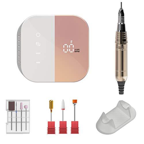 Fresa per unghie professionale di alta velocità fino a 35000 RPM regolabile con il Display LCD e Touchscreen,limetta elettrica stabile e silenziosa ideale per manicure e pedicure in casa.