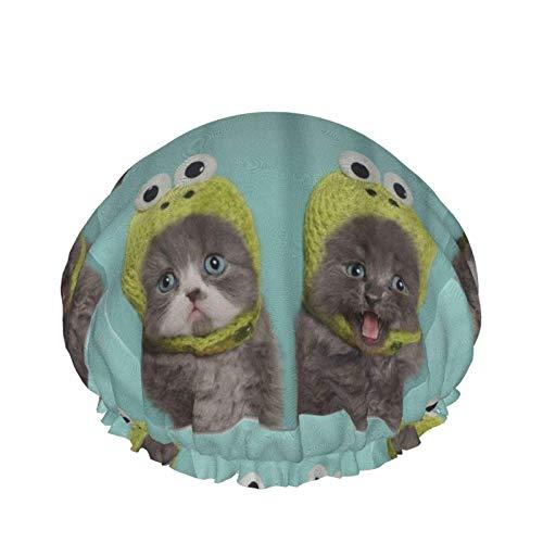 Gorro de ducha para mujer Adorable gatito gato divertido turquesa gran cabezal de ducha reutilizable cubierta de pelo gorro