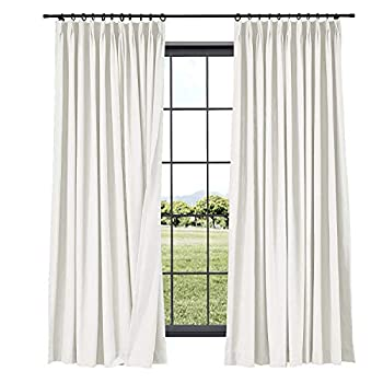 TWOPAGES Linen Curtains Pinch Pleated Drape 52 Inches Width x 96 Inches Length for Livingroom Room Darkening Bedroom Curtain  1 Panel 7804-5 Off White