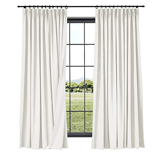 TWOPAGES Linen Curtains Pinch Pleated Drape, 52 Inches Width x 96 Inches Length for Livingroom Room Darkening Bedroom Curtain (1 Panel 7804-5 Off White)