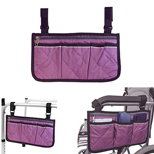 Rollstuhltasche mit Taschen – Universelle wasserdichte Armlehne Seitentasche für Elektro-Rollstuhl, Mobilitätsroller, Gehhilfe, Zubehör, Lila