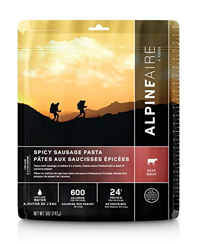 Alpine Spicy Pork Sausage Pasta Freeze-Dried/Dehydrated Entrée Meal Pouch, Just-add-Water, 2-Servings per Pouch, 12g of Protein per Serving