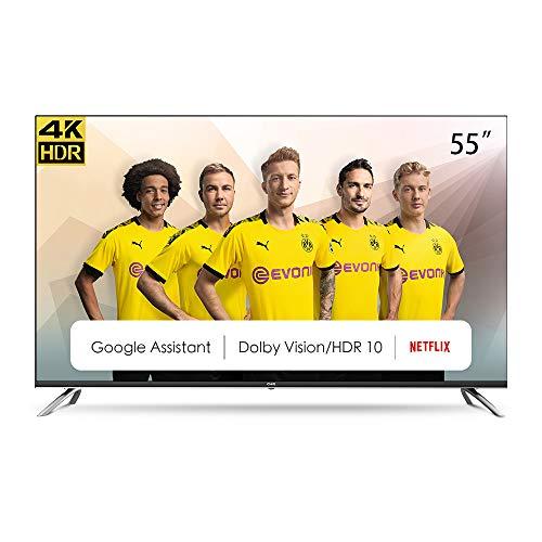 CHiQ U55H7A Randloser Android UHD LED Fernseher 55 Zoll TV 4k Randlos Smart TV 139 cm Bilddiagonale (Version 2020, Ultra HD, Prime Video und Chromecast)