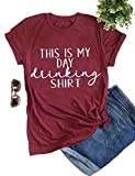 YourTops Women This is My Day Drinking T-Shirt Funny T-Shirt (US XL, 1-Wine Red)