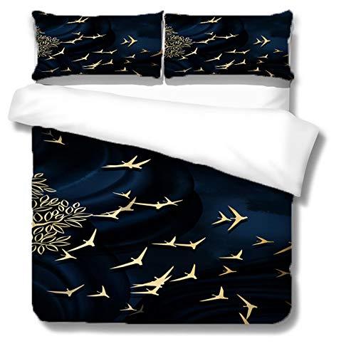 HKDGHTHJ Funda nórdica Impresión Azul pájaro Volador 135 x 200 CM Juego de Cama de 4 Piezas Funda nórdica Sábana Plana Fundas de Almohada Ropa de Cama Twin Full Queen King Size