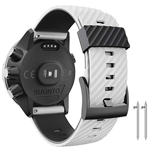 ANBEST Cinturino di ricambio compatibile con Suunto 7 Suunto 9, 24 mm, in silicone per Suunto 9 baro Spartan Sport D5 Smart Watch, bianco nero