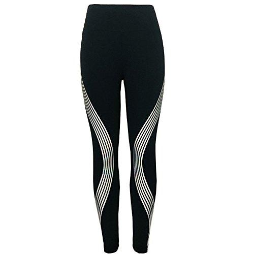 KEERADS Femmes Néon Arc en Ciel Bande Leggings Fitness des Sports Gym en Cours Yoga Pantalon de Sport Collants Pantalon de Danse(L,Noir)