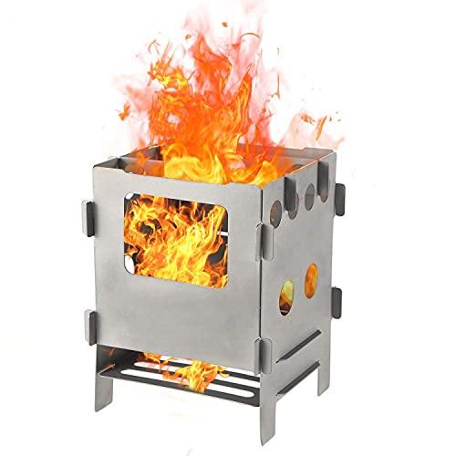 Justmysport Estufa de leña portátil estufa plegable de acero inoxidable y titanio para Camping Senderismo Mochilero estufa multifuncional para pícnic, BBQ para activitad al aire libre