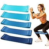 Bandas Elásticas Fitness Set de 5 Bandas de Resistencia Latex Natural Cintas Elásticas Musculación con Bolsa de Transporte para Ejercicios de Pilate, Yoga, Crossfit, Culturismo