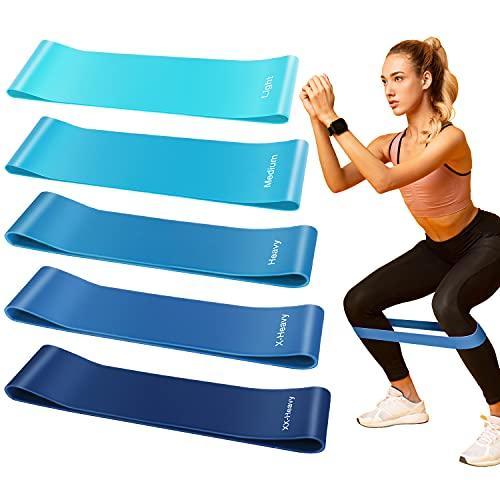 elastici fitness banda Elastici Fitness Bande,[Set di 5] Banda Elastica Fasce 5 Livelli Resistenza di Lattice Naturale per Crossfit