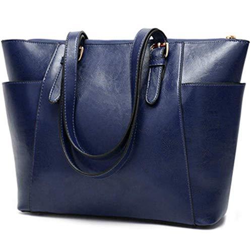 XYAZ Moda mujer retro PU bandolera bandolera mujer bolso de mano de gran capacidad,azul