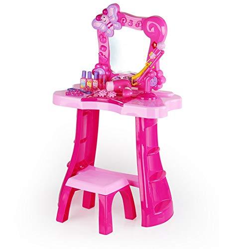 OUY Spielzeugkommode Karaoke Frisierkommode Simulation Play House Frisierkommode Prinzessin Schminktisch Mädchen-Baby-Musik-Mikrofon-Set Kinderspielzeug 78x25x46.5cm Schminktischset für Kinder