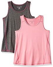 Amazon Essentials - Pack de 2 camisetas deportivas sin mangas para niña