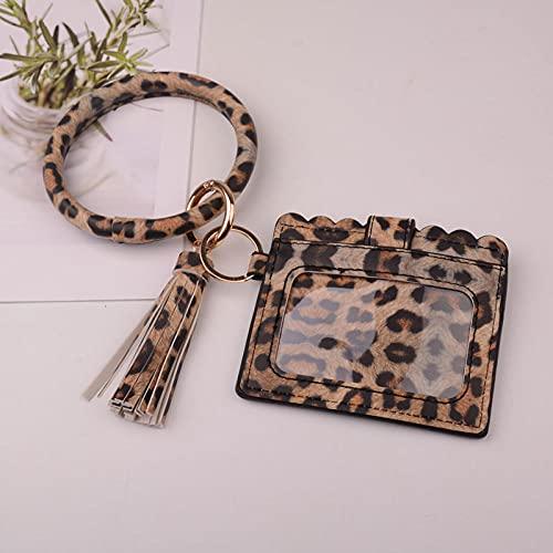 Bolso De Llavero Mujer Hombre Cartera De Leopardo Bolso De Tarjeta con Borla De Cuero Pulsera De Moda Llavero Joyería-Leopardo