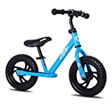 JOYSTAR 12 Inch Balance Bike for Boys 2 3 4 5 Years Old, Toddler Push Bike with Footboard & Handlebar Protect Pad, Child Glider Cycle, Kids Slider, Blue