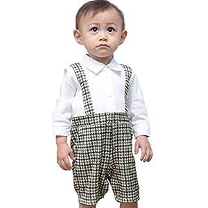 Sweet Mommy ベビー 正装 赤ちゃん フォーマル 男の子 スーツ カバーオール ロンパース 吊りズボン風 コットン 日本製ちりめん 千鳥柄グレー 90