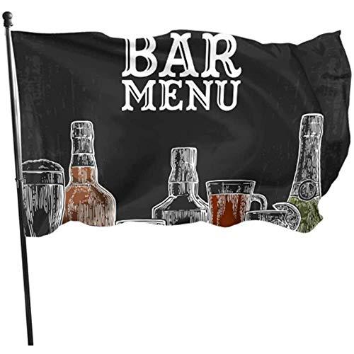 3'X5',Banderas De Jardín,Banderas Al Aire Libre,Bandera del Patio De La Casa,Plantilla Bar Menú Alcohol Bebida Botella Patio Decorativo Banderas Patio Exterior Bandera Soporte