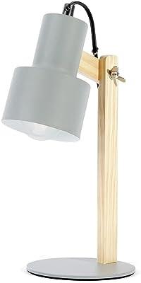 Homemania HOMPT_0002 Lampe de Table David Gris, Bois Métal Bois 13 x 13 x 30 cm 1 x E27 Max 40 W
