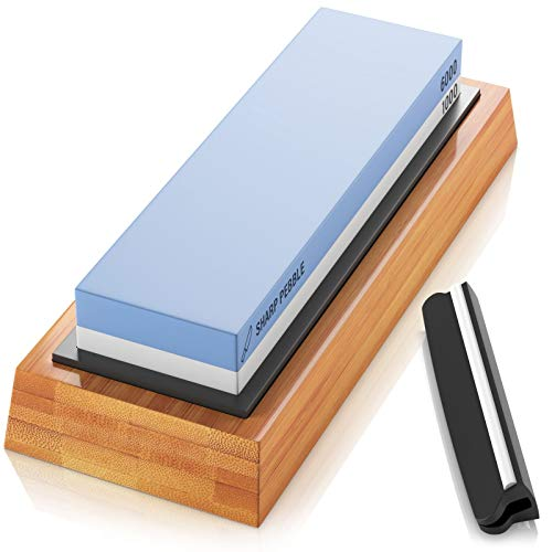 Sharp Pebble Premium Whetstone Knife Sharpening Stone 2 Side Grit 1000/6000 Waterstone- Whetstone Knife Sharpener- NonSlip Bamboo Base & Angle Guide