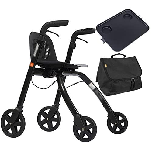 Andaderas Andador de 4 Ruedas con Asiento Ajustable Tamaño Compacto o posición de pie Liberación rápida Ruedas Delanteras, subebordillos, Ancianos, discapacitados (Color : Black, Size : 57×82cm)