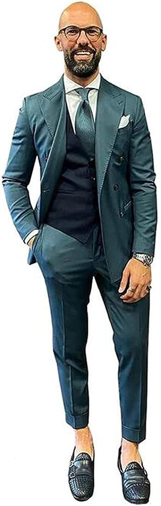 Men Business Formal Slim Fit 3 Pieces Suit Grooms Tuxedo Wedding Dress Suit