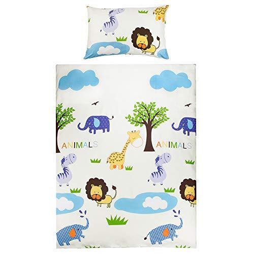 Kinderbettwäsche 100 x135 Mädchen Jungen Kinder 100% Baumwolle Reißverschluss Zoo-tiere Elefant Giraffe Affe bunt Babybettwäsche Bettwäsche Set