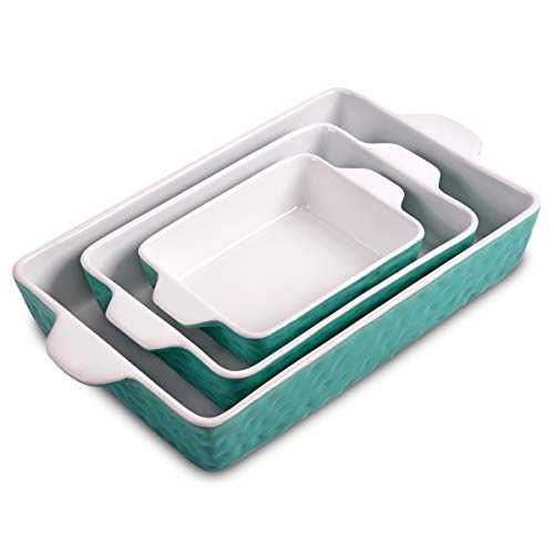 Bakeware Set, Ceramic Baking Dish, Rectangular Baking Pans Set, Casserole Dish for Cooking, Cake Dinner, Kitchen, Wrapping Upgrade, 12 x 8.5 Inches, 3-Piece (Cyan)