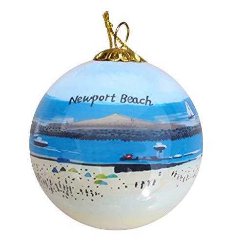 Art Studio Company Hand Painted Glass Christmas Ornament - Newport Beach, CA