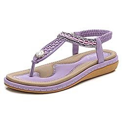 Purple T-Strap Beaded Flat Sandals with Bohemian Rhinestones