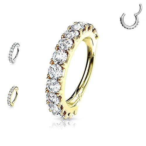 AWAKEN Circle Clicker Ring Aretes con cristales Swarovski brillantes para mujer Nariz Cartílago/Septum/Helix Acero...