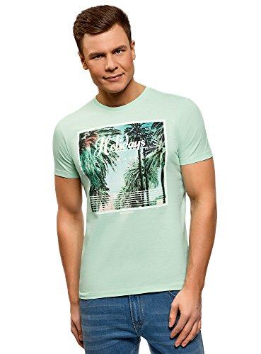 oodji Ultra Herren Baumwoll-T-Shirt mit Sommerdruck, Grün, M