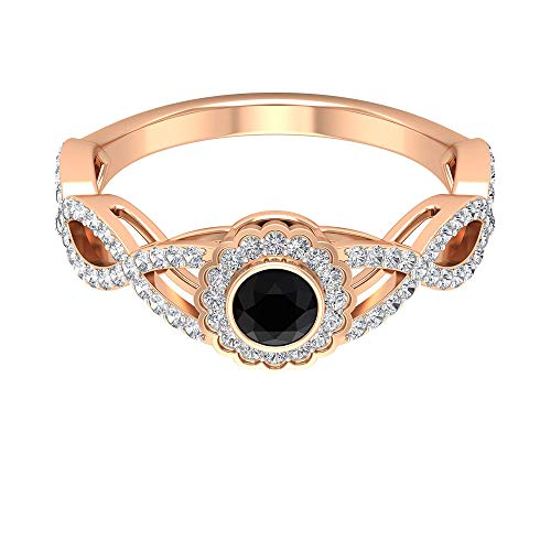 3/4 CT Diamond Halo Gold Ring, 4 MM Black Spinel Solitaire Engagement Ring, Round Shape Engagement Ring, Unique Wedding Ring, 10K Rose Gold, Size:UK H1/2