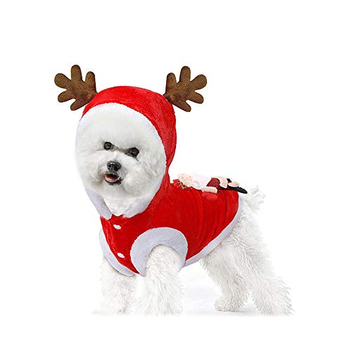 EASTLION Mooie Huisdier Kerst Elk Kleding Warm Hond Feest Fancy Dress Up Hoodie Kostuum Kleding Puppy Feestelijke Jas Jas, Rood, XS-2XL, L, Rood