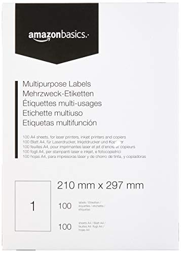 Amazon Basics - Etichette Multiuso, 210.0mm x 297.0mm, 100 fogli, 1 etichette per foglio, 100 etichette