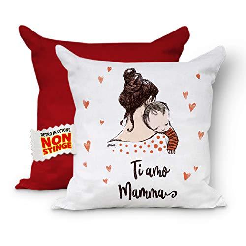 Mamma Ti Amo - Cojín completo para el Día de la Madre con relleno - Cojín para el sofá o la madre - Regalo - 40 x 40 cm (rojo rojo)
